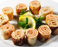 Pancakes With Salmon Royalty Free Stock Photography