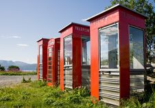 Free Four Old Telephone Boxes On  Non-urban  Background Stock Images - 8318904