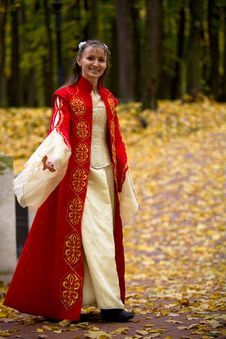Free Lady In Autumn Forest Stock Photo - 8318970