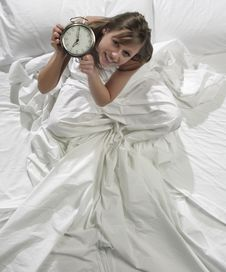Free Woman With Alarm Clock Stock Images - 8318974