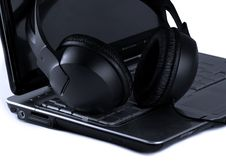 Free Laptop And Headphones On White Background Stock Photography - 8319162