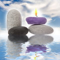 Free Candle And River Stones Royalty Free Stock Images - 8326689