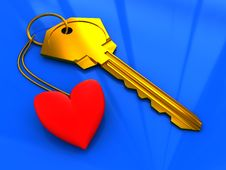 Key And Red Heart Stock Photography