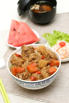 Prepared And Delicious Japanese Food-beef Rice Stock Images