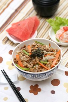 Prepared And Delicious Japanese Food-beef Rice Stock Image