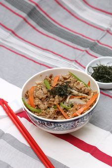 Prepared And Delicious Japanese Food-beef Rice Royalty Free Stock Photography