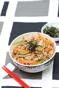 Free Prepared And Delicious Japanese Food-beef Rice Stock Image - 8322241