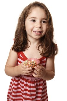 Smiling Girl With Doughnut Royalty Free Stock Image
