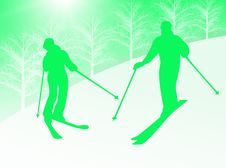 Couple Skiing Stock Photography
