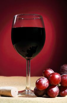 Still-life With Glass Of Red Wine Royalty Free Stock Image