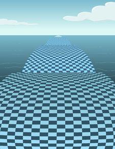 Free Checker Bridge In The Water -  Illustration Stock Image - 8323511