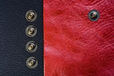 Five Buttons On The Black And Pink Leather Stock Images