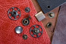 Black-pink Leather And Buttons Royalty Free Stock Photo