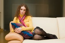 Free Woman On A Couch Royalty Free Stock Photography - 8324927