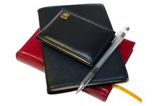 Free Three Notebooks (organizers) And Jell Pen. Stock Images - 8325324