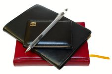 Free Three Notebooks (organizers) And Jell Pen. Royalty Free Stock Photos - 8325348
