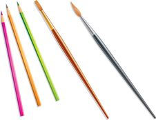 Pencils And Brushes Stock Image