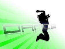 Free Dancing Silhouette White Green Background Royalty Free Stock Photo - 8326365