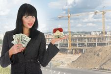 Business Woman Advertises Real Estate Royalty Free Stock Photography