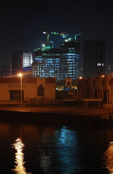 Illuminated Under Construction Building Near Dubai Stock Image