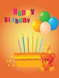 Free Orange Birthday Cake Stock Photos - 8327363