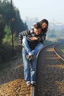 Free Walking On Railway Tracks Stock Image - 8327641