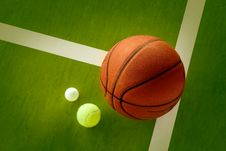 Free A Basketball, A Tennis Ball And A Ping-Pong Ball Stock Photos - 8328463