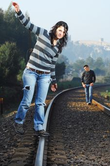 Free Walking On Railway Tracks Royalty Free Stock Photos - 8328468