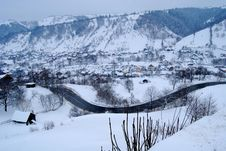 Village In Winter Stock Images
