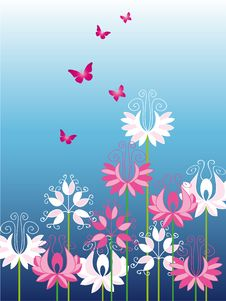 Free Beautiful Flowers With Butterfly Stock Photo - 8329180