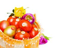 Free Easter Basket With Red And Golden Eggs Over White Stock Images - 8329624