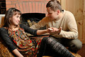 Free Young Couple Near Fireplace Stock Image - 8339851