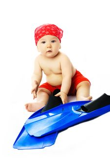 Cute Baby With Blue Flippers Stock Images