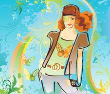 Free Fashionable Woman On Grunge Background Stock Image - 8331881