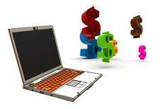 Free Modern Laptop With Dollar Symbols Stock Image - 8333481