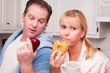 Free Fruit Or Donut Healthy Eating Decision Stock Photo - 8333820