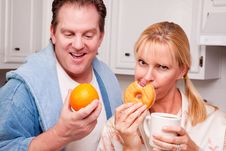 Free Fruit Or Donut Healthy Eating Decision Stock Photo - 8333850