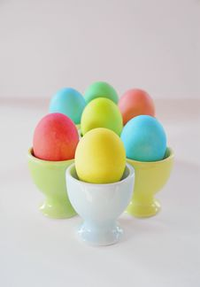 Easter Eggs In Pastel Egg Cups Royalty Free Stock Photos