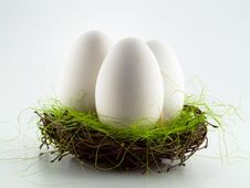 Free Three Goose Eggs In The Nest Royalty Free Stock Photo - 8336975