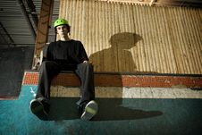 Free Skateboarder Sitting On Ramp Royalty Free Stock Image - 8337296