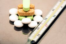 Free A Thermometer And Pills Stock Images - 8337704