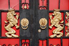 Pengzhou, China: Lion Entry Gates Royalty Free Stock Images