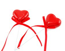 Free Two Heart Shaped Candies With Bowed Tapes Stock Photo - 8338640