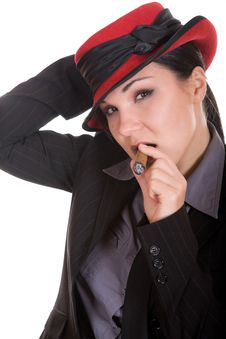 Free Woman With Cigar Royalty Free Stock Image - 8339206