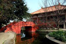 Pixian, China: Chinese Bridge At Wang Cong Ci Park Stock Photo