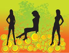 Free Women Silhouettes On Abstract Background Stock Images - 8339964