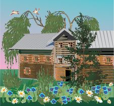Village House And Flowers Royalty Free Stock Images