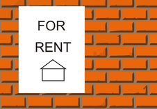 House For Rent On Brick Wall Royalty Free Stock Images