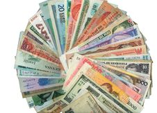 Currencies From Around The World, Paper Banknotes. Stock Image