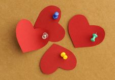 Free Paper S Hearts With  Thumbtacks Stock Images - 8341644